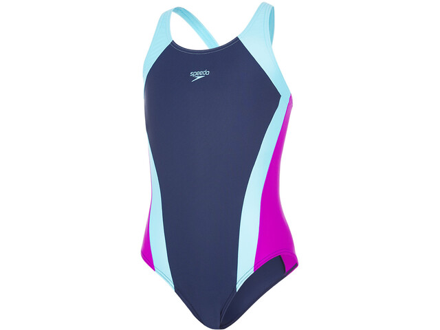 speedo Contrast Panel Splashback Swimsuit Girls navy/turquoise/diva